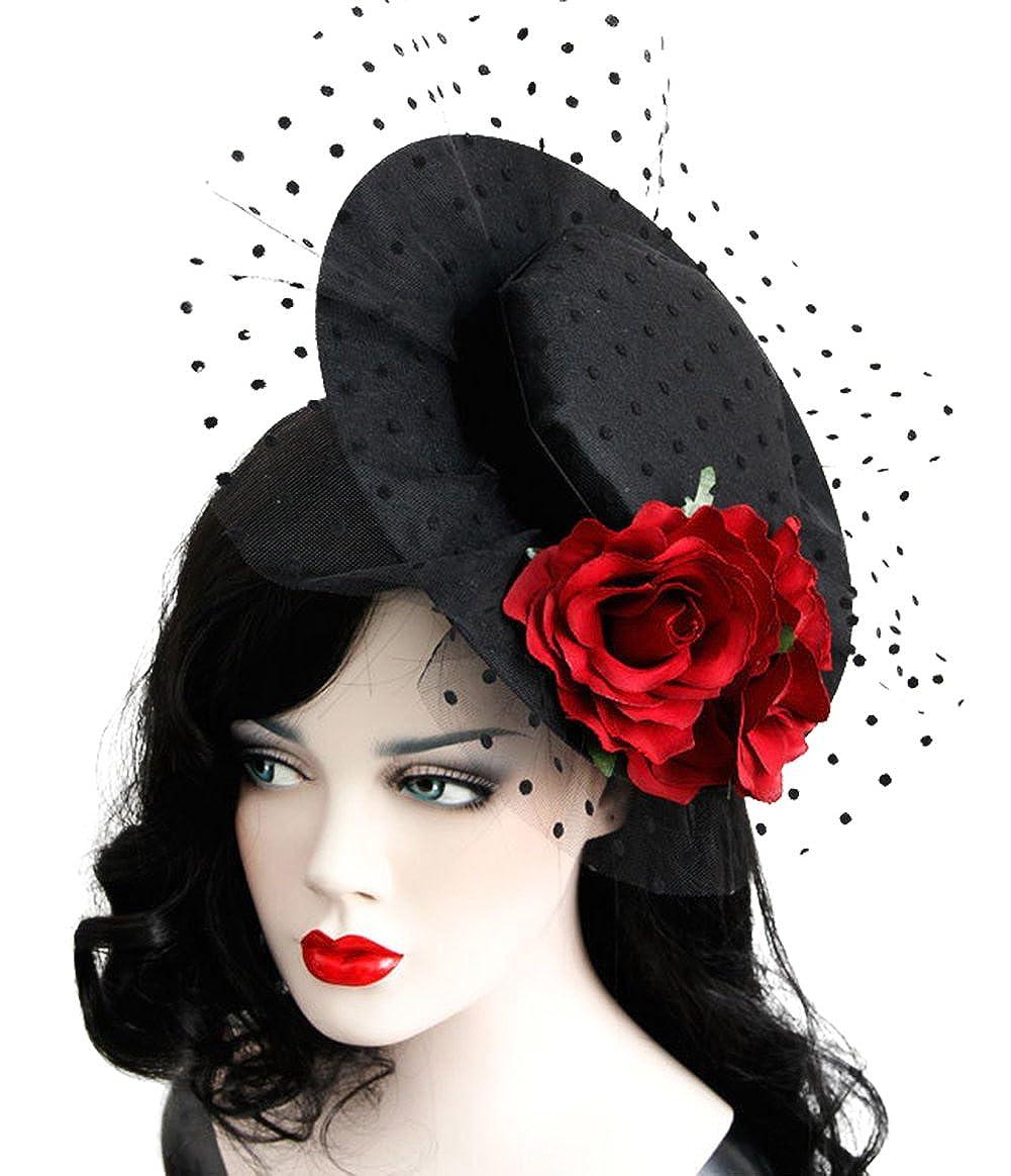 Ethel Women s Rose Gothic Style Fascinator Hair Clip Hat Veil Wedding  Bridal Headwear at Amazon Women s Clothing store  8cc387eadc9