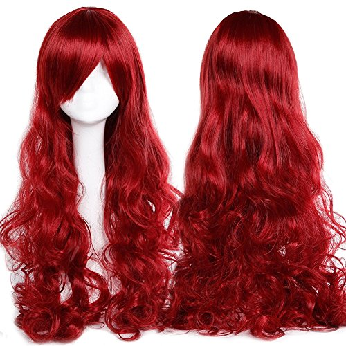 [99J Costumes Makeup Wig with Bangs Curly Wavy 24-40inch Japanese Kanekalon Fiber Heat Resistant Synthetic Wig Long Vogue 32'' / 80cm for Women Girls Lady Fashion (wine] (Long Red Wigs)