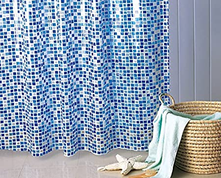 Gedy Extra Long Blue Mosaic Shower Curtain 180x200 Cm Rings