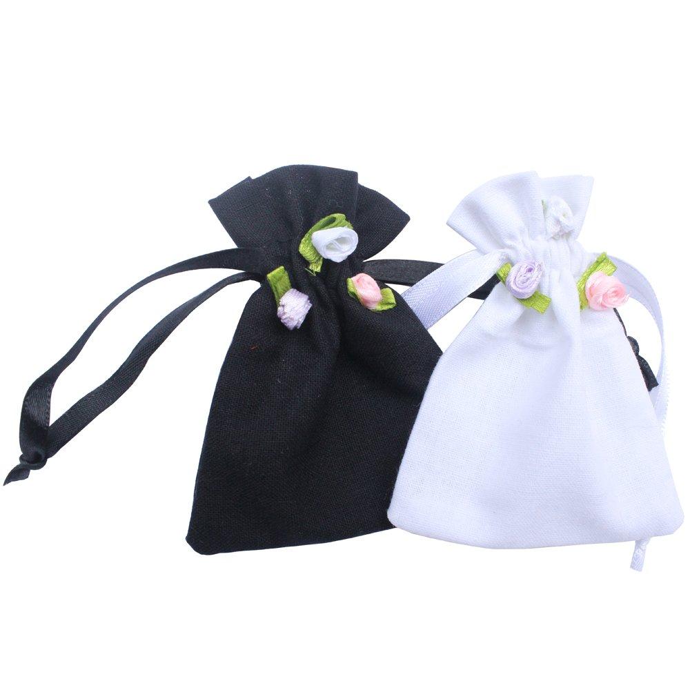 50pcs/package Rose flower balck white 100% cotton wedding gift pouch Polyester drawstring bag (White, 9x12cm)
