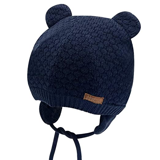 28be22a4bc8 IMLECK Baby Soft Warm Fall Winter Knit Wool Hat Cute Bear Toddler Beanie Hat  with Ear