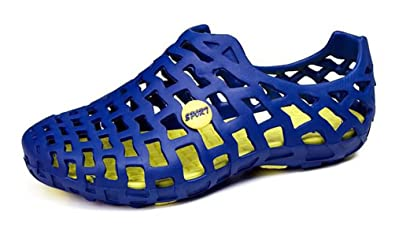 SHOWHOW Damen Breathable Flach Loch Mesh Strandschuhe Slippers Sandalen  Blau