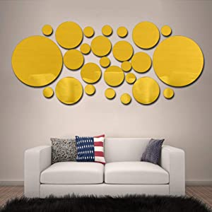 HOODDEAL 3D Wall Art Mirror Stickers Decor Solid Round Decals DIY Living Room Bedroom Home Decorations (26PCS) (Gold)