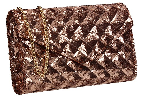 SWANKYSWANS Quilt Maizy Sequin Womens Clutch Party Bag Finish Champagne Gold Trendy TrBTnqw