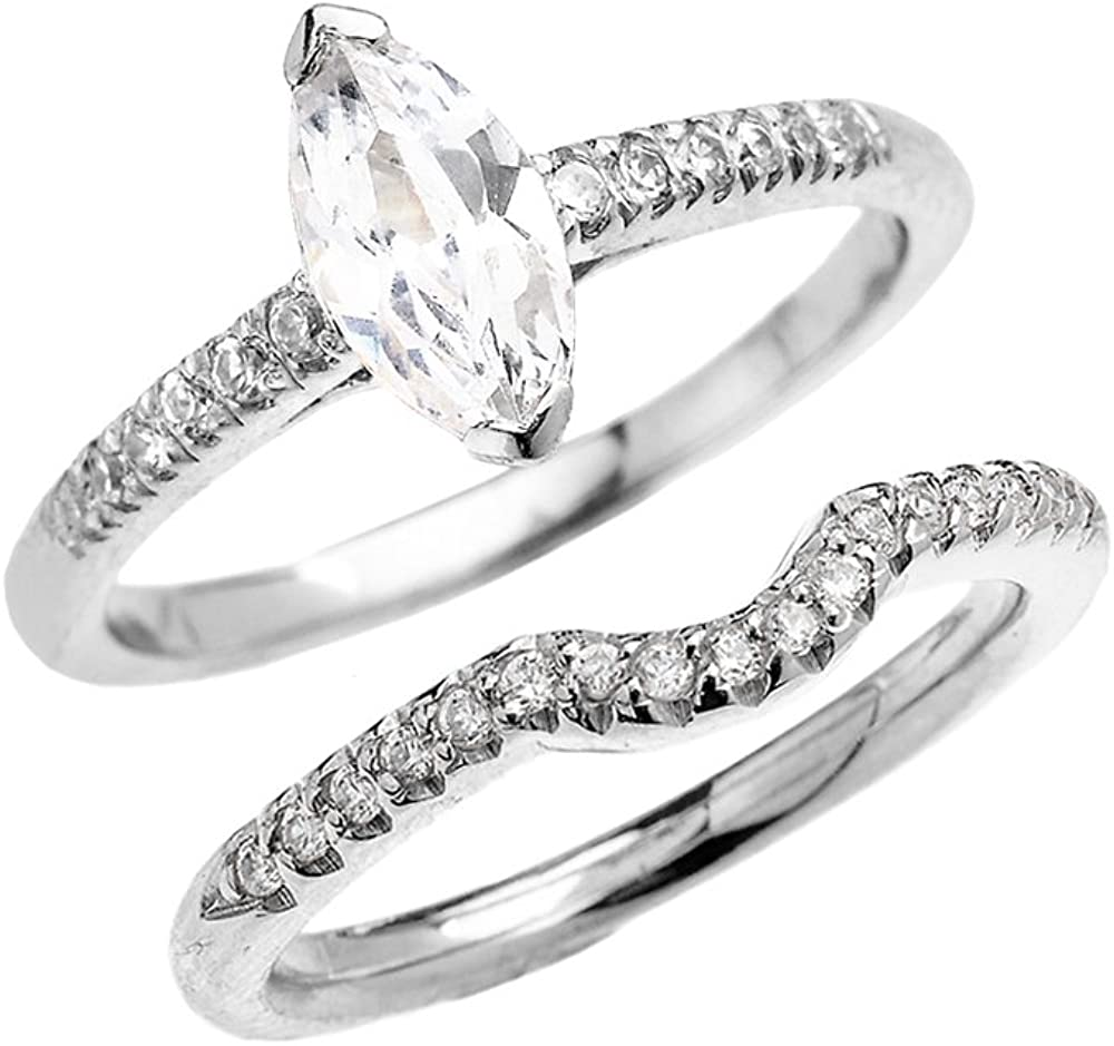 Princess Kylie Marquise Clear Cubic Zirconia Classic Solitaire Ring Sterling Silver
