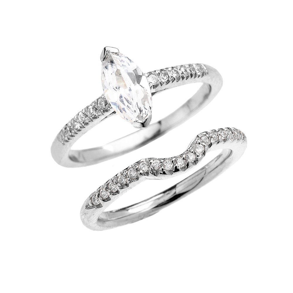 10k White Gold Dainty Marquise Cubic Zirconia Solitaire Wedding Ring Set (Size 6)