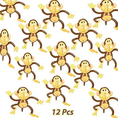 Set of 12 Adorable Inflatable 27'' Monkeys Zoo Party Favor Decor Jungle Animals Birthday, by 4E's Novelty, ()