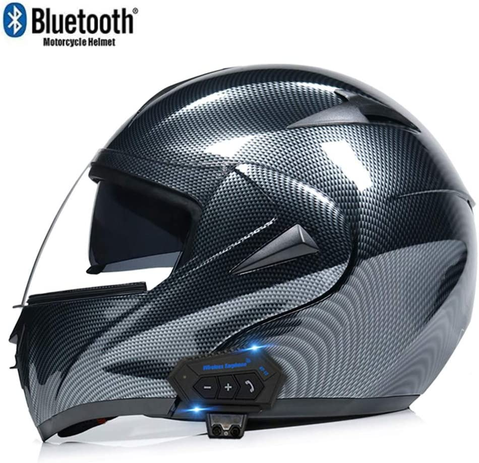 ZhangHai Bluetooth Integrated Motorcycle Helmets Full Face Flip Up Modular With Dual Visors Motorcross Helmets Built-in Speaker Headset Microphone For Unisex DOT//ECE Certification