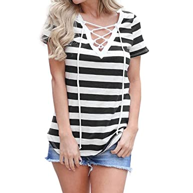 2f173841f9f427 Staron Clearance Womens Clothing Blouse Short Sleeve Striped Shirts V Neck  Tops (S
