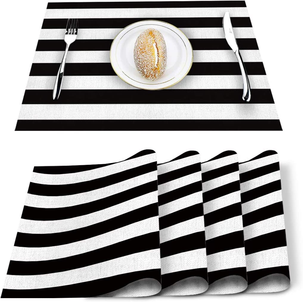 Amazon Com Set Of 6 Placemats Black And White Stripes Placemats For Dining Table Heat Resistant Place Mat Stain Resistant Washable Linen Table Mats Kitchen Table Mats Kitchen Dining