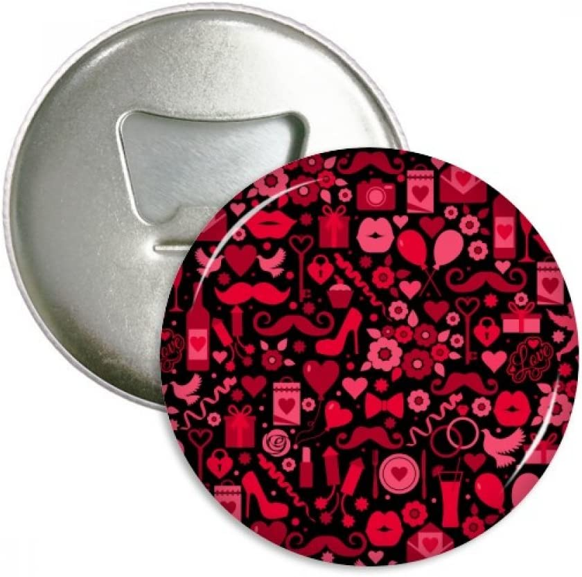 Black Pink Hearts Lips Valentine's Day Bottle Opener Fridge Magnet Emblem Multifunction Badge
