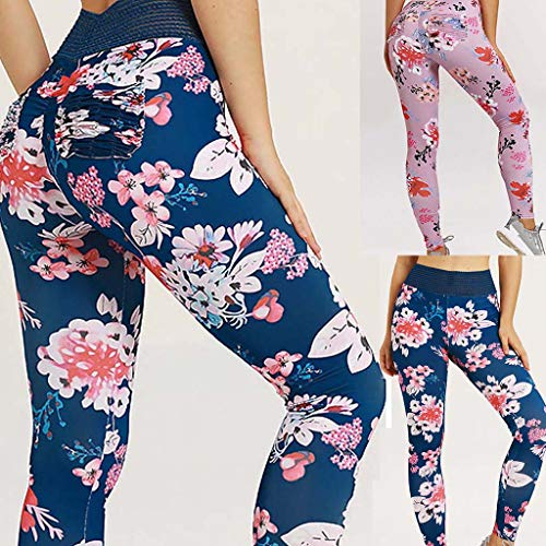 Excursion Sports Floral Printed Yoga Pants for Women, High Waist Tummy Control Running Leggings, Stretch Athletic Tights for Work-Out Fitness Cycling