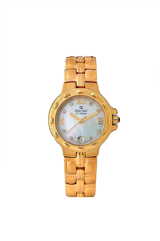 Oskar-Emil Classic Gold Casablance Damen Quarzuhr mit Perlmutt-Zifferblatt - analog und vergoldetem Edelstahl-Uhrband