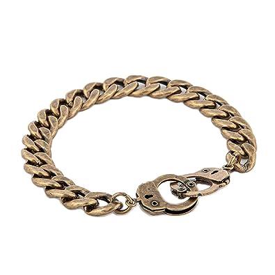WeiVan Handcuff Bracelet Partners in Crime BFF Punk Rock Men s Metal Bronze  Chain Bracelet 7d36fadd3ecc
