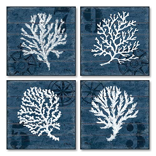 4 Indigo Blue Coral Nautical Signs; Coastal Decor; Four 12x12in Poster Prints Prints. Blue/White