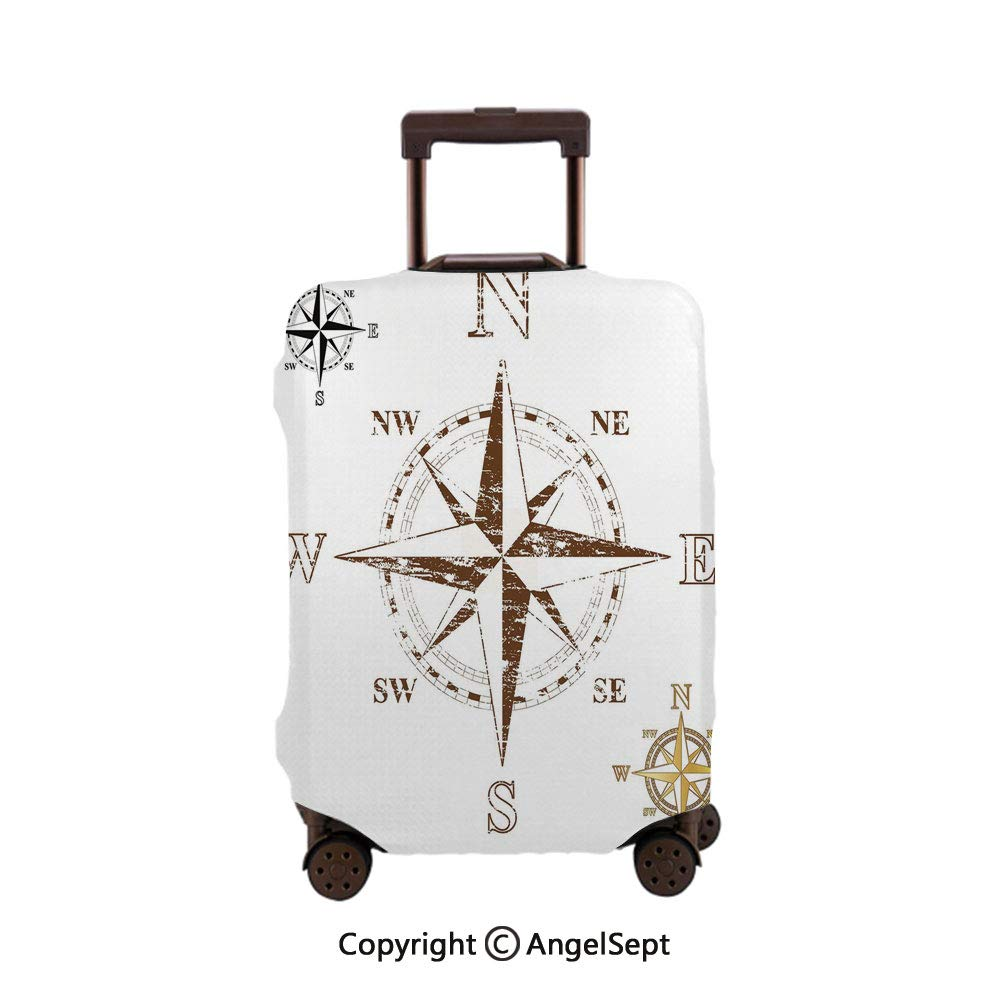 Travel Luggage Cover Dustproof Suitcase,Calming Faded Windrose Sailing Movement Action Finding Your Way Ocean Exploration White Brown,26x37.8inches,Cover Suitcase Protector Carry-On