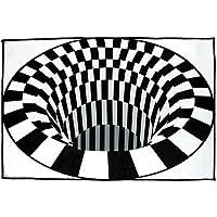 Vortex Illusion Rug, Round Square Anti-Slip Floor Mat Black White Grid 3D Illusion Carpet for Bedroom Living Room…