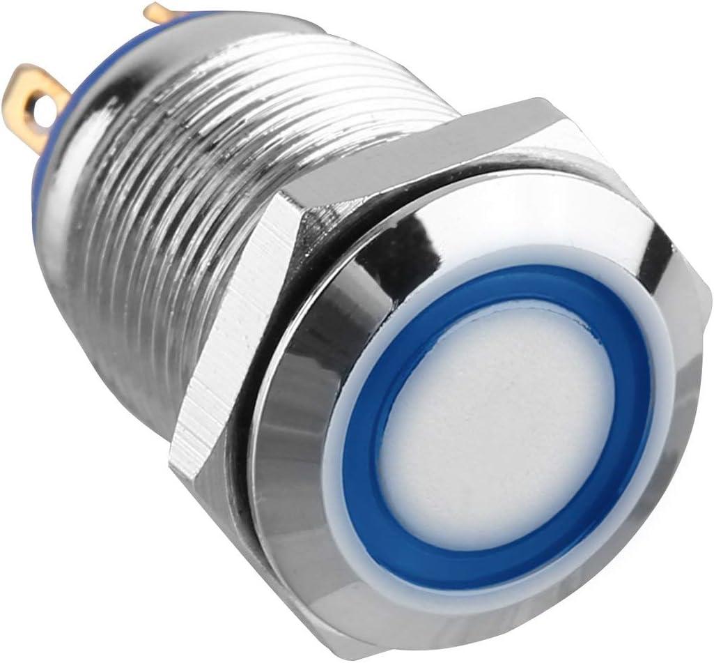 blau BIYI 12 V Metall Angel Eye LED Auto Beleuchtet 12mm Druckschalter Metall Druckschalter Wei/ß Einfach zu Installieren