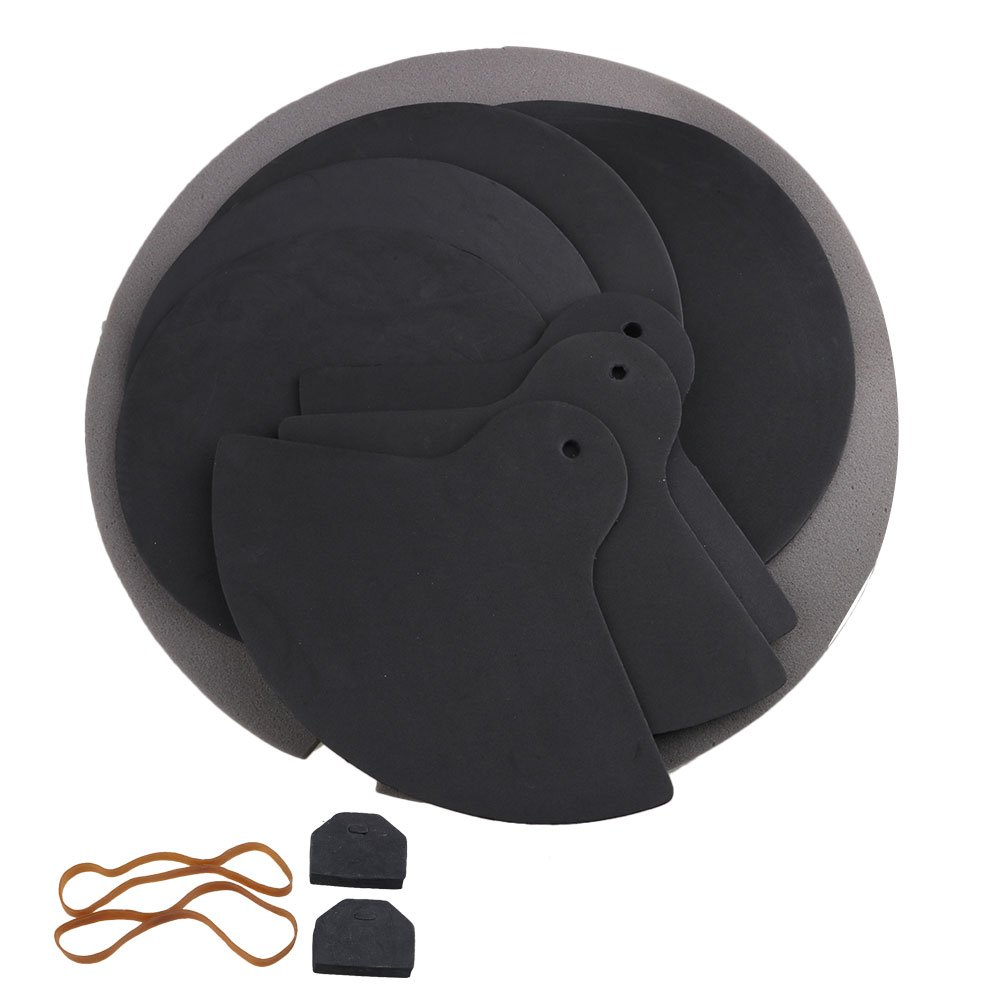 Yibuy Black Rubber Foam Durable Mute Silencers Drumming Rubber Practice Pad Set etfshop YB4787