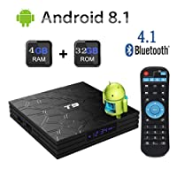 Newest 2018 Android TV Box,T9 Android 8.1 Boxes with 4GB RAM 32GB ROM Quad-Core Cortex-A53 RK3328 Processor 2.4GHz WiFi Supports 4k2k Ultra H.265 Smart Set Top Box