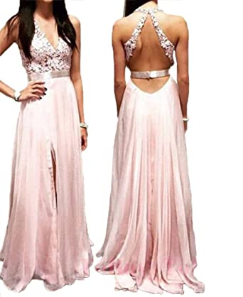 Womens 2018 Blush Pink Prom Dress Backless Long Prom Dress Side Slit Formal Prom Dress Pink