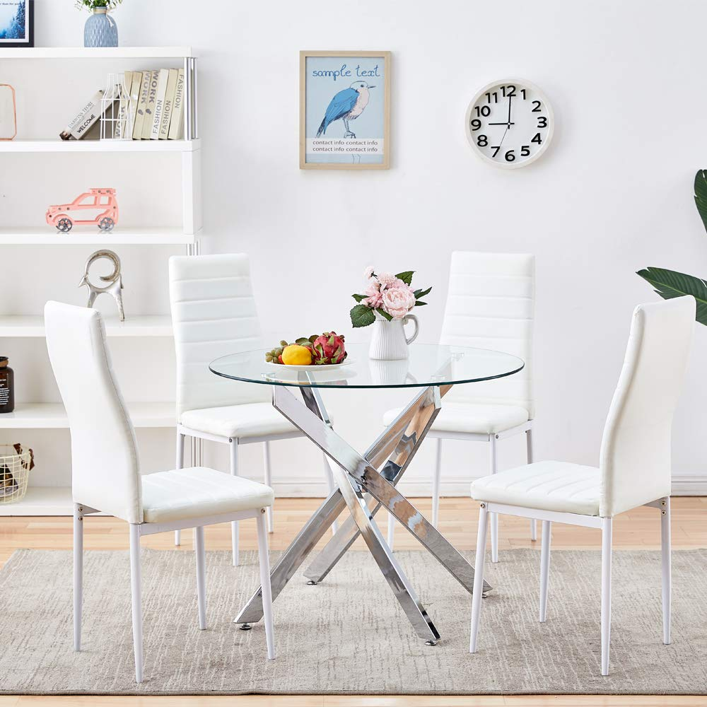 Sicotas 5 Piece Round Dining Table Set Modern Kitchen Table And White Chairs For 4 Person Dining Room Table Set With Clear Tempered Glass Top Dining