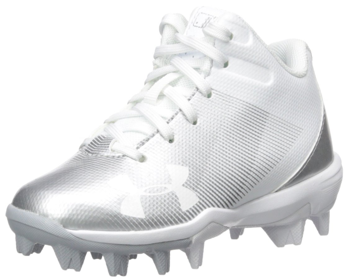 Under Armour Boys' Leadoff Mid Jr. RM Baseball Shoe, 100/White, 9K by Under Armour