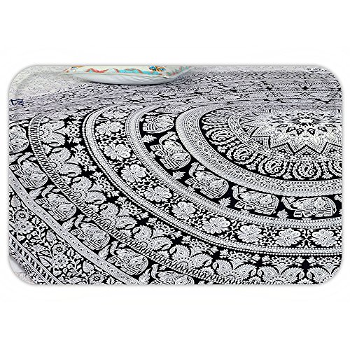 Fitness Theme Wear Costumes (VROSELV Custom Door MatPopular Round Elephant mandala Roundie Beach Throw Indian Hippie Yoga Mat Décor urban round table cloth by Popular Handicrafts)