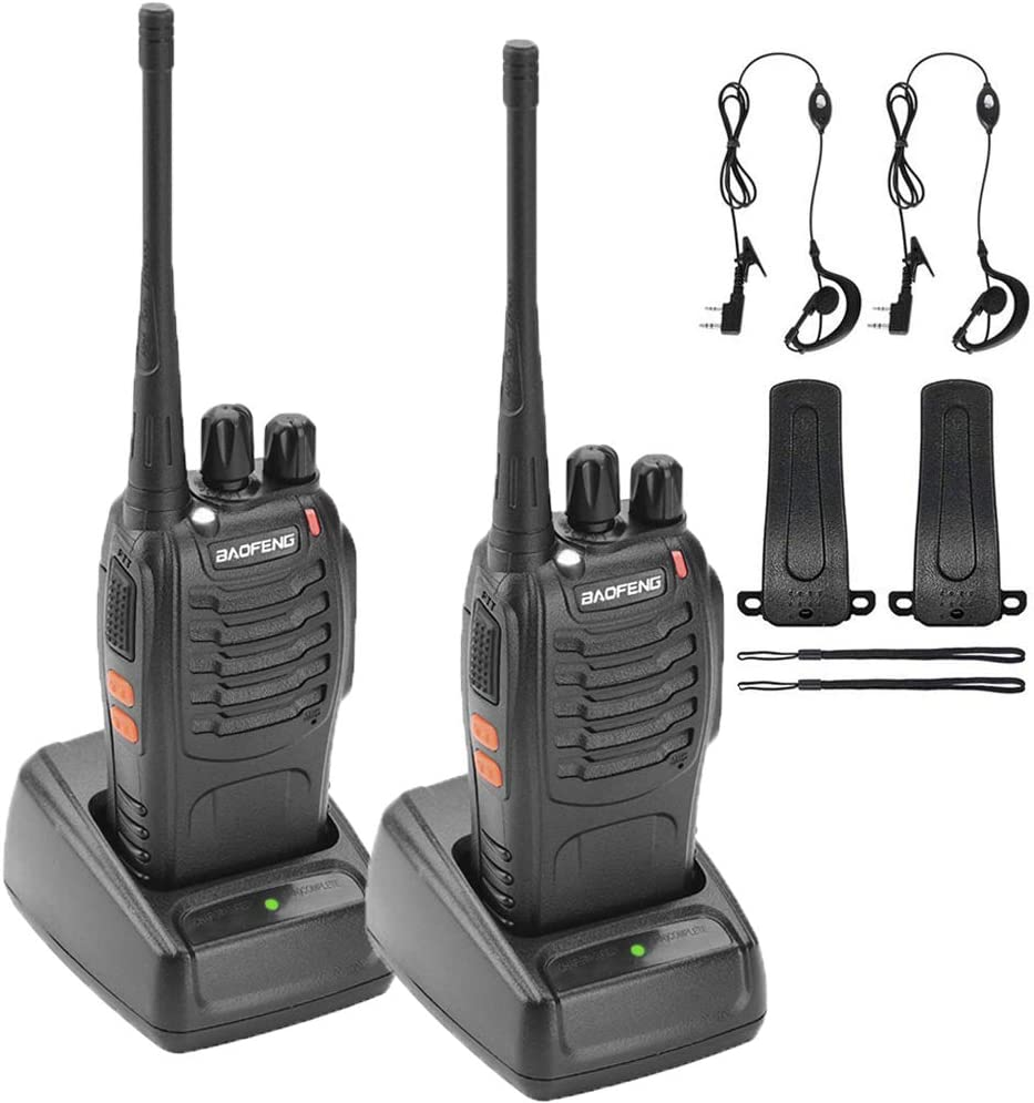 Nestling 2PCS 400-470 MHz Walkie Talkie Two Way Radio Rechargeable Long Range Headset Headphone Built in LED Torch BF-888s Pack of 2