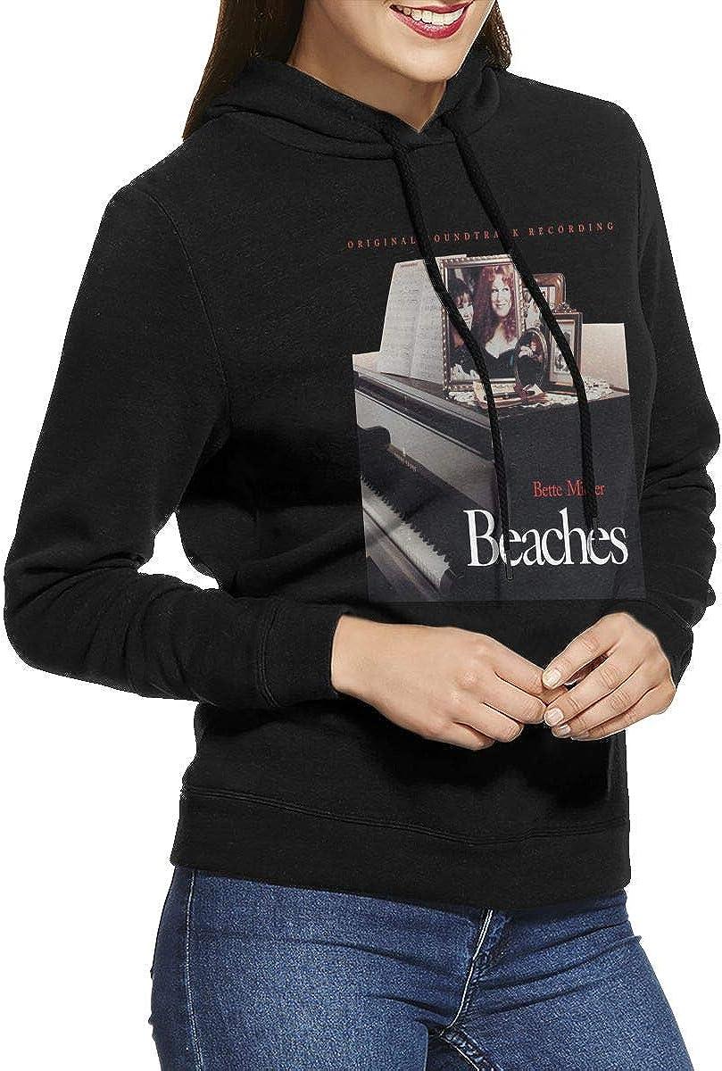 LANDON LUCAS Womens Bette Midler Beaches Hoodies Hooded Sweatshirt Black