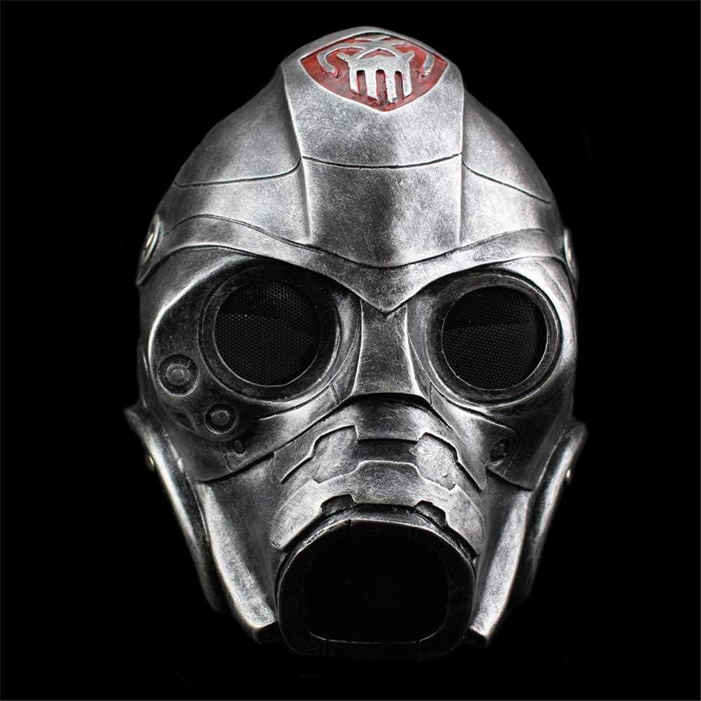 Máscara de Halloween Máscara de Resina Terror Protección contra la radiación Máscara de Gas COS Dress Up Headgear Máscara Disfraz Fiesta de Disfraces Apoyos Suministros,Silver