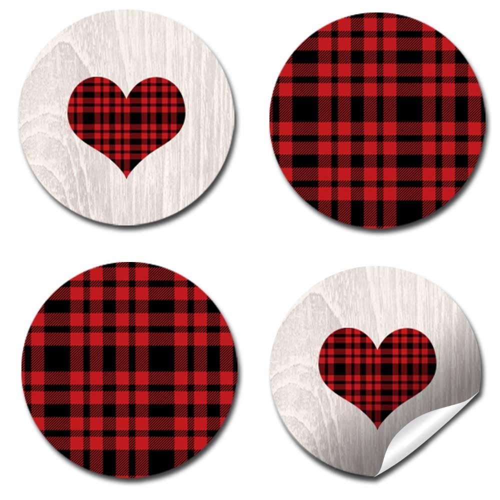 "Great for Party Favors 300 Party Circle Sticker sized 0.75/"" for Chocolate Drop Kisses by AmandaCreation Envelope Seals /& Goodie Bags Our Little Heartbreaker Red and Black Buffalo Plaid Birthday Valentine Party Kiss Sticker Labels"