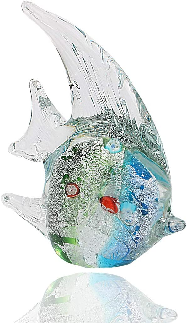 Hophen Murano Angel Fish Art Glass Blown Handmade Sea Animal Figurine Sculpture Home Decor Collectible Statue Paper Weight Gift Ornament (Small Green)