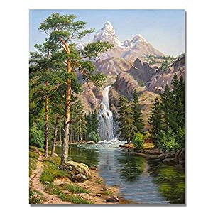 Rihe DIY Oil Painting Paint By Numbers Kits with Brushes Acrylics Painting Kits on Canvas for Adults Kids Beginner - Stone Pines Landscape 16x20 Inch(Wooden framed)