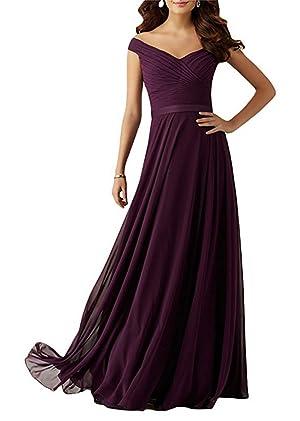 Pandora Women's Bridesmaid Dress Swearheart off the shoulder Line-A Chiffon Prom Evening Dress (22W, Grape Purple)