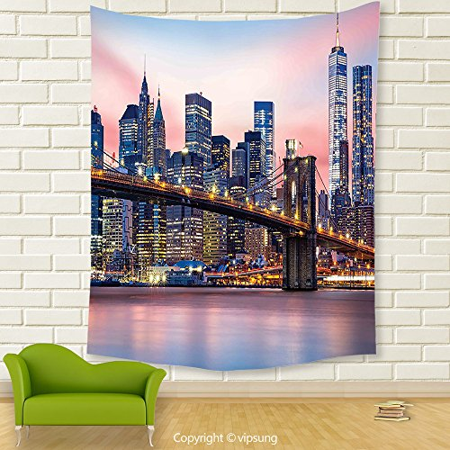 Vipsung House Decor Tapestry_New York Decor By Brooklyn Bridge And Lower Manhattan Skyline Under Pink Sunrise Long Exposure Art Image Blue_Wall Hanging For Bedroom Living Room Dorm (Halloween Dog Parade Brooklyn)