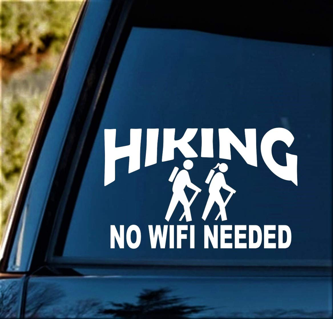 Hiking Couple No Wifi Needed Hiker Decal Sticker for Car Window BG 114