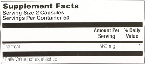 KAL - Charcoal Activated, 280 mg, 100 capsules