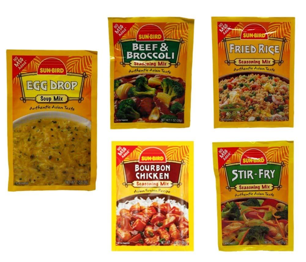 Sun Bird No MSG Added Asian Seasoning and Soup Mix 5 Flavor Variety Bundle, 1 each: Beef Broccoli, Stir-Fry, Fried Rice, Bourbon Chicken, Egg Drop Soup (.74-1.25 Ounces)