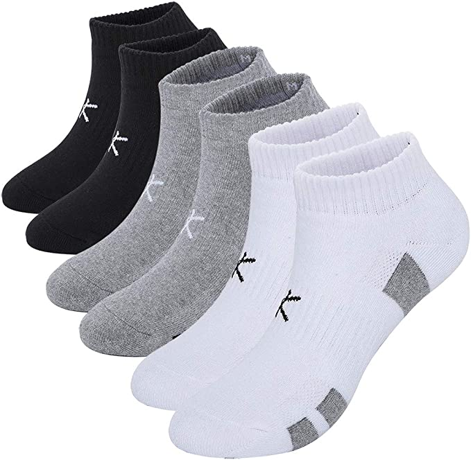 6 Pairs Womens Cotton Ankle Lightly Cushioned Sport Socks Medium Weight USA Made
