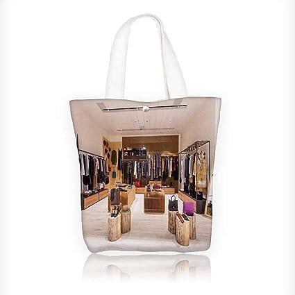Amazon Com Stylish Canvas Zippered Tote Bag Retail Clothes Shop