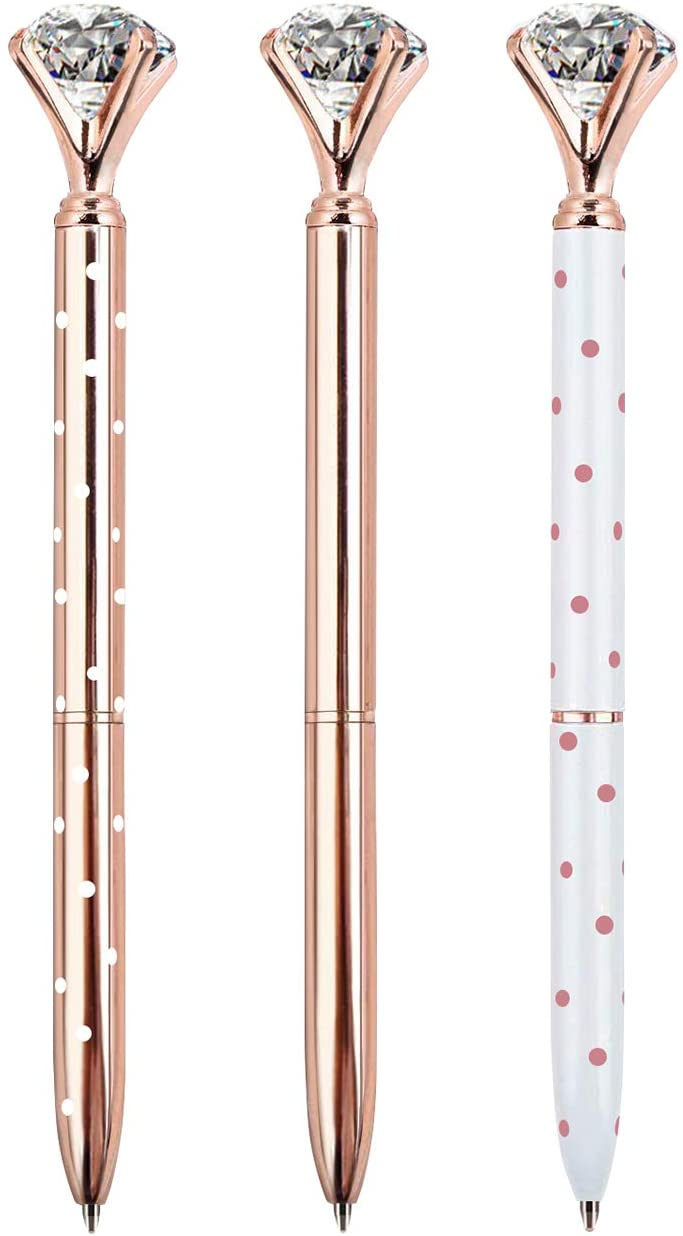 ZZTX 3PCS Big Crystal Diamond Ballpoint Pen Bling Metal Ballpoint Pen Office Supplies, Rose Gold/White With Rose Polka Dots/Rose Gold With White Polka Dots, Includes 3 Pen Refills