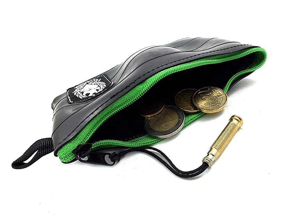 Green Vegan Coin Pouch Purse | Mens Vegetarian Coin Wallet | from Cruelty-Free Upcycled Bicycle Inner Tube | Supersoft + Extremely Durable