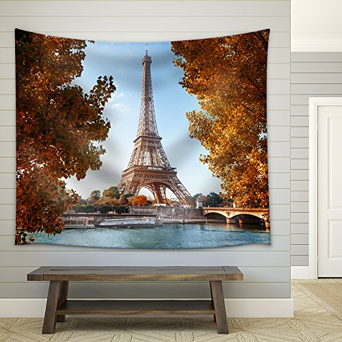 wall26 - Seine in Paris with Eiffel Tower in Autumn Time - Fabric Wall Tapestry Home Decor - 68x80 - Paris France Sunset Time In