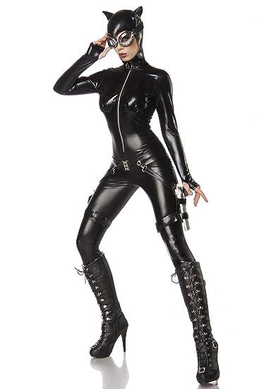 catwoman kostum damenkostum katze schwarz anzug overall set heldin amazon de spielzeug