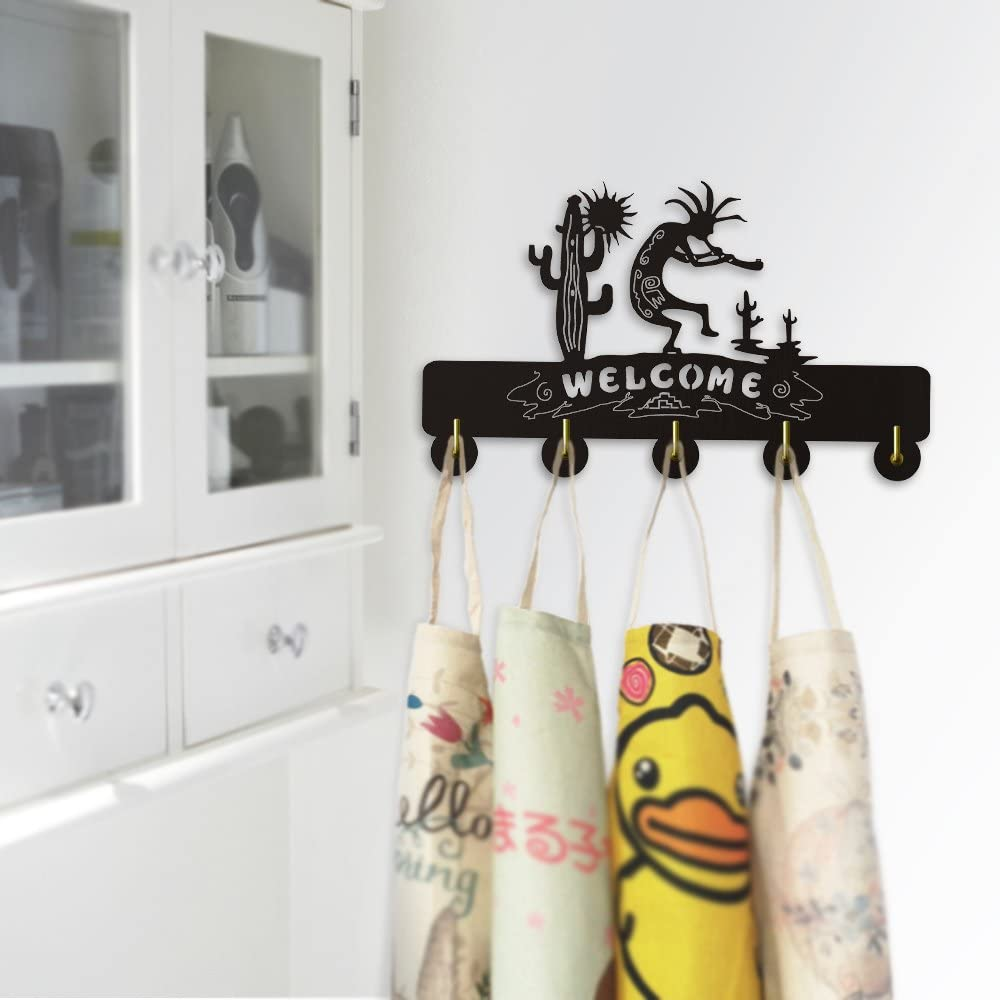 Kokopelli Flute Music Welcome Wall Sign Wall Hooks Sun Cactu Home Decor Living Room Door Decor Clothes Coat Robe Hooks Keys Holder Towel Hooks
