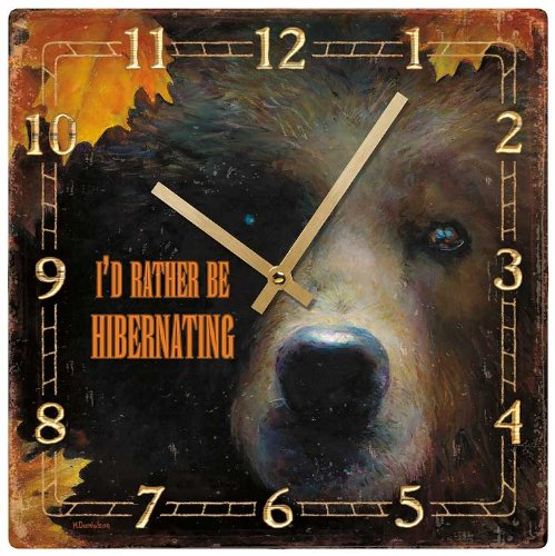 Hibernating - Grizzly Bear Square Clock by Marsie Danielson