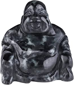 rockcloud 1.5 inches Hand Carved Gemstone Laughing Buddha Healing Stone Statue Figurine Happiness and Peace Meditation Home Decoration Amulet, Black Zebra Jasper