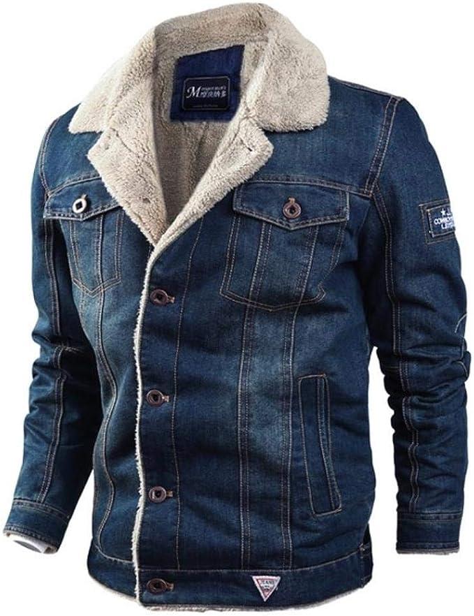 メンズウォームアウター秋冬男性冬ファッションカウボーイジャケットトレンディな暖かい毛皮のライナーデニム厚いジャケットトップコートメンズジーンズジャケット