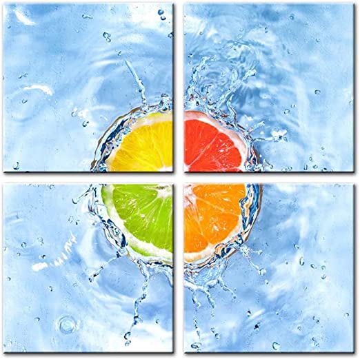 WATER SPLASH LIME KITCHEN DESIGN CANVAS WALL ART PICTURE PRINT READY TO HANG